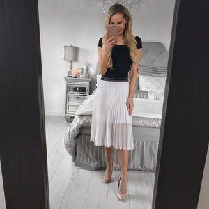 Topshop Two Layer White Pleated Skirt